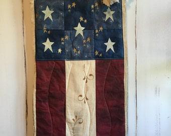 Handmade/Primitive American Flag /primitive flag /Patriotic Americana Flag/Old Glory
