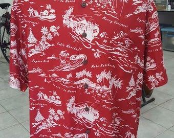 136- Kahala Aloha Hawaiian shirt Large Christmas Mele Kalikimaka Red/white Viscose Rayon Santa Excellent condition