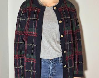Plaid Cardigan - Vintage clothing