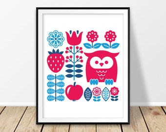 Scandinavian nursery, Digital prints, Finnish folk art, Nordic print, Nursery room design, Finland Poster, Owl wall art, Instant download