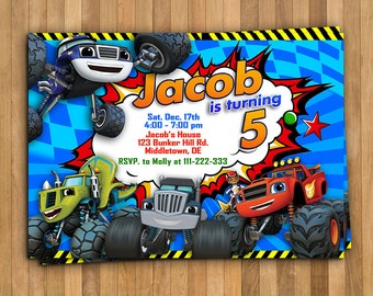 Blaze and the Monster Machines Invitation, Blaze Birthday Party, Truck, Monster Machine, Cars, Race, Personalized, Printable, Digital File