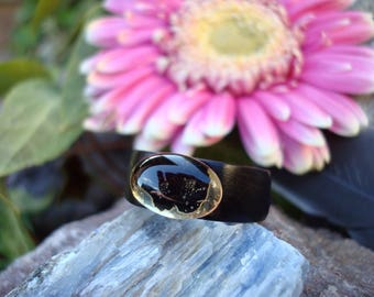 Citrine Ring (6) Ebony Ring/Action/Solar Power/Citrine Jewelry/Wooden Ring/Black Ring/Ebony Jewelry/Yellow Stone Ring/Gaia/Nature Ring/Love