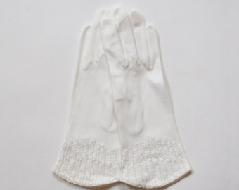 Vintage 1950s Saks 5th Ave Beaded White Cotton Gloves  - Dainty Beading - Women's Gloves  - NWT - Made in West Germany