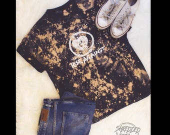 Rise against bleached distressed shirt - Reworked band tee