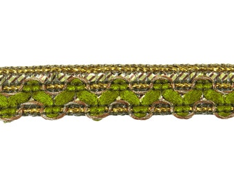 Olive Green And Metallic Gold Woven Braided Trim, Thin Edging Lace, Decorative Dress Border Trimmings 15 mm Wide Ribbon By 18 Yards RT1663C