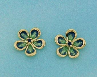Enamel earrings, 14K Gold Enameled Flower earrings, Hand painted, Vitreous enamel, glass enamel, post earring, for girls, 2 shades of blue