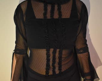 90s vintage goth see-through blouse