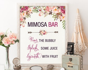 Printable MIMOSA BAR. Floral Bridal Shower Sign. Rustic Bohemian Boho Garden Bridal Shower Decoration. Calligraphy Flower Sign. Decor. FLO7