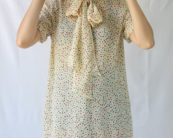 vintage polka dot oversized top / dress with neck tie