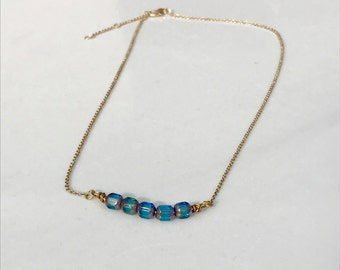 Delicate  Beaded Bar Necklace