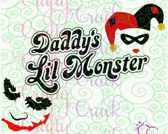Daddy's Little Monster SVG, DXF, PNG - Digital Download for Silhouette Studio, Cricut Design Space