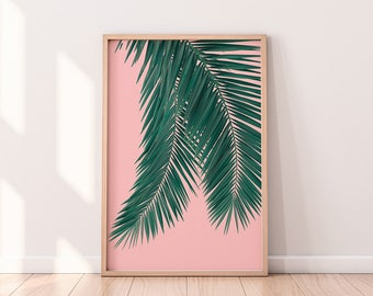 Palm Leaf Poster, Tropical Leaf Poster, Leaf Print, Printable Art, Palm Art Print, Minimalist Wall Art, Digital Download, Modern Wall Print