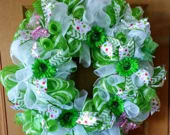 Green and white deco mesh spring wreath