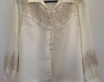 Small or Medium cream cowgirl shirt with gold lurex embroidery