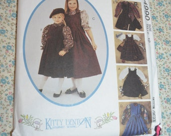 McCalls 4990 Kitty Benton Childrens and Girls Jumper Blouses and Bag Sewing Pattern - UNCUT  - Size  12