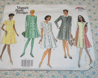 Vogue 2716  Misses/ Misses Petite Dress Sewing Pattern - UNCUT -  Size 8 10 12 - Fitted and Slightly Flared Dress