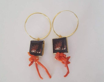 Caltagirone' s earrings and coral