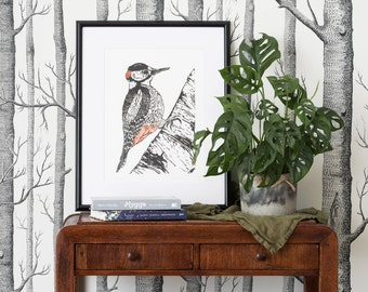 Woodpecker linocut print   signed limited edition   handmade illustration   framed