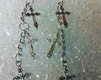Silver cross design dangle earrings