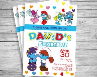 Smurfs Invitations Personalized, The Smurfs Party Invite, Smurfs Birthday Invitation, The Smurfs Birthday Party, The Smurfs printables