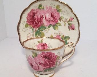"Royal Albert ""American Beauty"" Teacup and Saucer// Pink Rose Teacup"