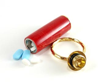 Cool Key Chain, Hidden Compartment, Pill Holder Keychain, Pill Box Keyring, Red Acrylic, Metal Pill Case, Pill Container