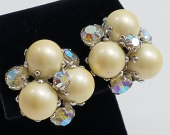 Simply Stunning Faux Pearl & AB Rhinestone Clip Earrings Signed Vogue