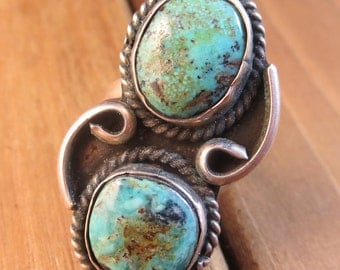 Old Pawn Southwest Turquoise Ring Vintage Size 4.5 Native American 1940's Sterling Silver