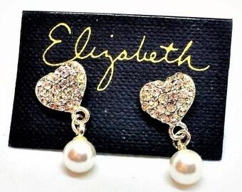 Rhinestone Heart Pearl Dangle Earrings 3/4 inch Elizabeth Original Card