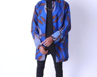 Men's  Long Coat Ankara African Print