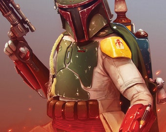 Boba Fett Star Wars Art A3 Limited Edition Print