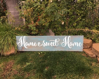 "Large Wooden Sign ""Home Sweet Home"""