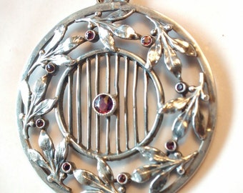 Pendant German Jugendstil in marked silver and tourmalines.