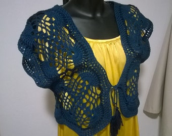 Blue crochet bolero jacket