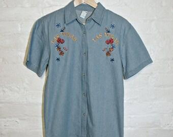Las Vegas Denim Short Sleeve Embroidered Button Down Blouse