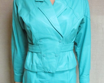 Vintage 1980's Chia Teal Green Leather Jacket & Matching Skirt Set Size XS