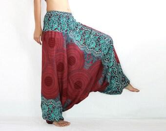 Red Mandala Chakra Print Convertible Jumpsuit Harem Pants for Women - Bohemian Baggy Pants - Music Festival Pants - CP PNT005