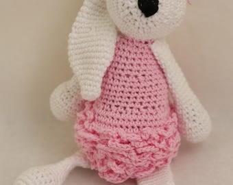 Crocheted Ballerina Bunny Rabbit - Natural Fibers