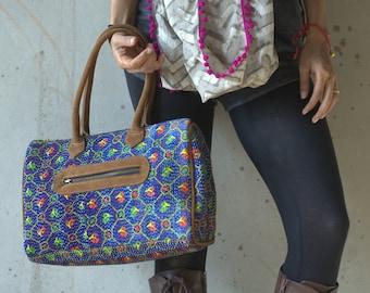 Blue bohemian hand bag