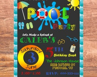 Pool Party Invitation - Summer Pool Birthday Invitation - Swimming Party - Kids Pool Party