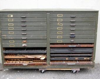 Original 1900s Hamilton MFG Co. Oak Printers Type Cabinet, Antique Furniture