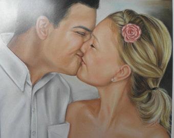 Custom Couple Portrait.Valentines Day Gift , Anniversary custom painting, Weddings Gift.Personalized Art Portrait