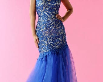 Royal Blue lace gown