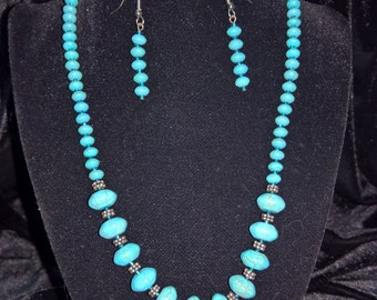 Turquoise ceramic necklace/earring set