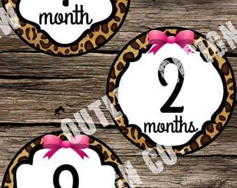 Baby Girl Monthly Milestone Markers Printable Instant Download Leopard Pink Bow Animal Print Vintage Retro Elegant Nursery Age Sticker