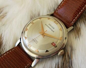 Vintage ARVOR automatic watch from the 1950-60's with nice date dial- Montre vintage ARVOR des années 1950-60, avec beau cadran à date.