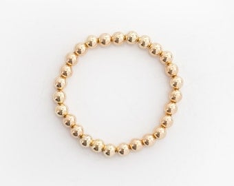 14 Karat Gold Bead Bracelet - 7mm