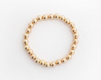 14 Karat Gold Bead Bracelet - 8mm