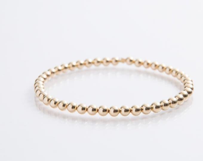 Featured listing image: 14 Karat Gold Bead Bracelet - 4mm