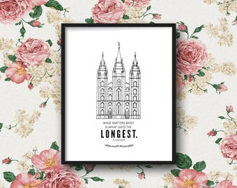 LDS Salt Lake Temple Print & Quote | 5x7, 8x10, 11x14 | Digital Print | Instant Download